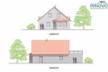 Ein Satteldachaus mit Garage und Dachterrasse
